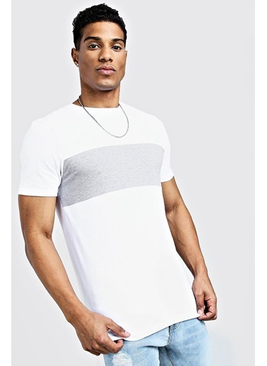 XHAN Haki Bisiklet Yaka Garnili T-Shirt  Beyaz